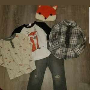 Old navy destructed jeans/fox hat/shirts 3t